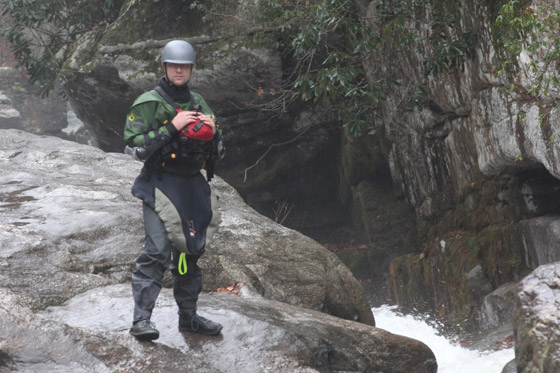 Eric Stalowy tests the Astral Brewer on cold, slippery rocks.