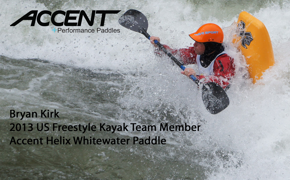 Bryan Kirk earns the highest scoring ride of the US Freestyle Team Trials at the Nantahala River - Accent Helix Bent Shaft, Foam Core Carbon