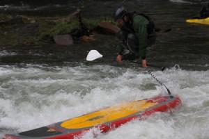 Luke Hopkins performs acrobatic SUP Surfing Maneuvers - Accent Ride SUP Paddle - Foam Core Fiberglass